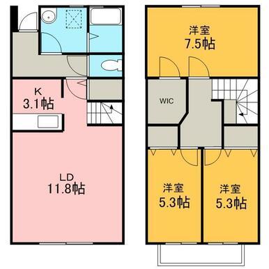 1Fは11.8帖のリビングダイニング。2Fは洋室3部屋。戸建て感覚のメゾネットです!