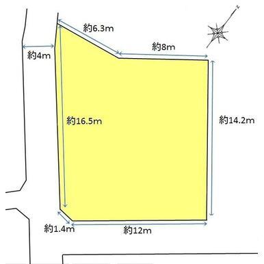 接道間口は約15.9m、前面道路幅員は約4.0mです。