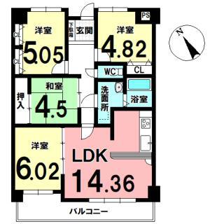 エスポワール東栄II 3階 4LDK
