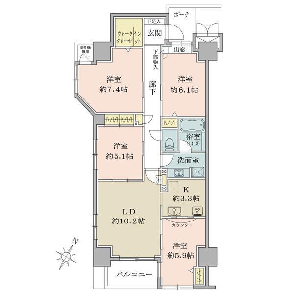 4LDK/南東・南西角部屋/85.78㎡/室内は丁寧にご使用されており、明るいお部屋です。