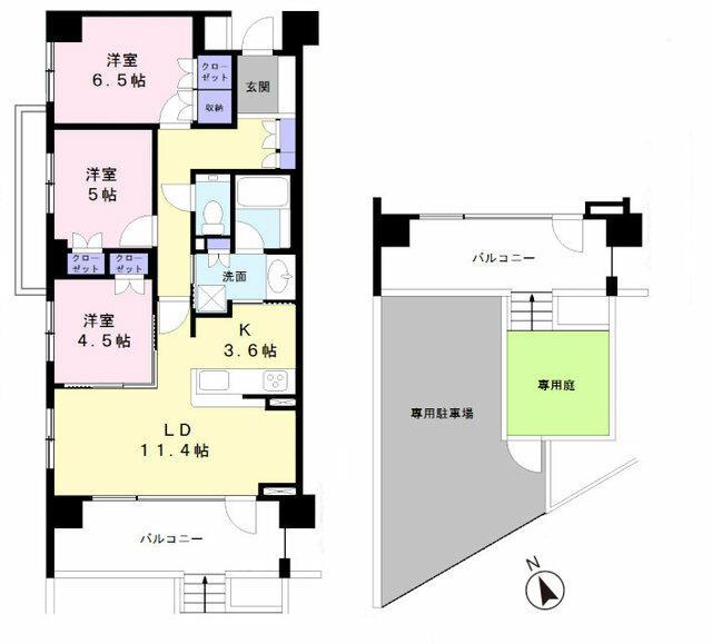 専用庭スペース、駐車スペース付