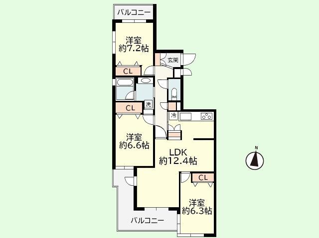 3LDK 専有面積82.25平米、バルコニー面積12.64平米