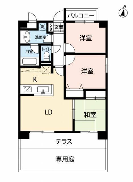 専有面積62.26平米、テラス面積8.97平米、専用庭12.42平米~開放的な3LDK