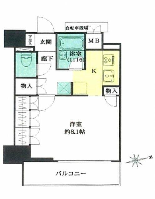 リビオ五反田プラグマGタワーの間取りです。5階 1K 壁芯:30.18㎡(約9.12坪)