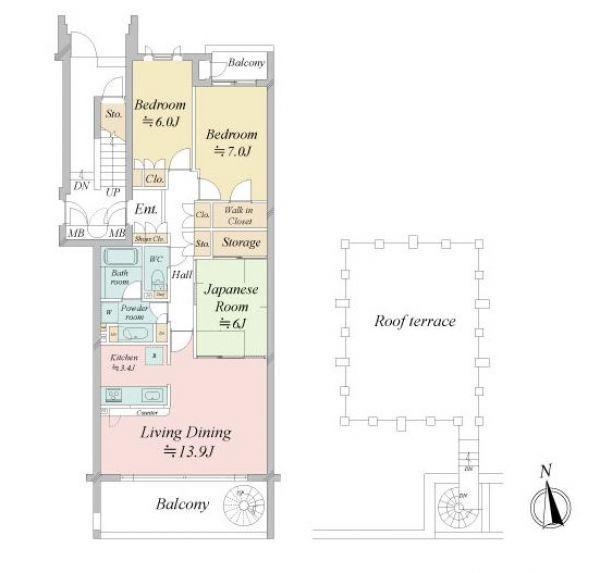 LDK約17.3帖の広々3LDK!バルコニーにはらせん階段があり、専用のルーフテラスがあります。