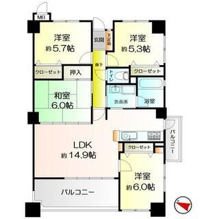 日商岩井南福岡Ⅱマンション 5階 4LDK