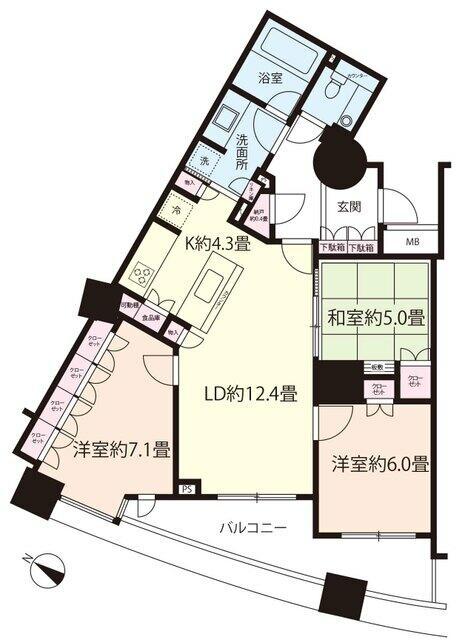 ■3LDK■専有83.52平米■バルコニー10.08平米■収納豊富なマンションです