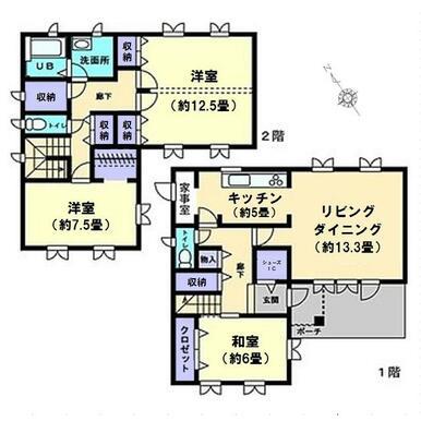 2階建3LDK。2階洋室(約12.5畳)の中心で区切れば、4LDKへの間取り変更が出来ます。
