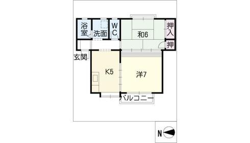 セジュール富栄 1階 2K