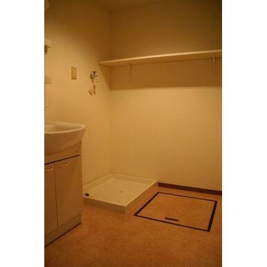 広めの脱衣所には洗濯機置場と独立洗面台。棚もあり収納たっぷり!