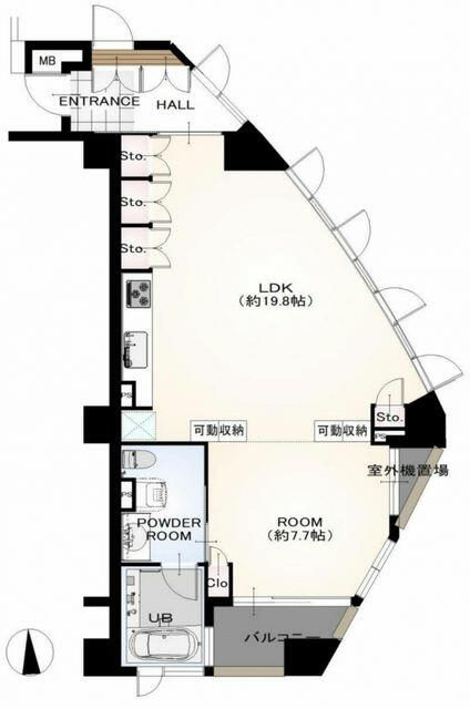 専有面積64.41平米 バルコニー面積4.14平米 1LDK 南東角部屋 陽当り眺望良好