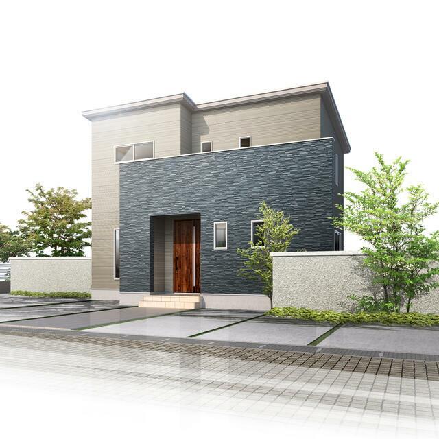 【小松市】一針町分譲2号棟/2021.1月完成予定 外観イメージ ※掲載の外観は、図面を基にCGで描いたもので植栽・色・門扉・形状等、実際とは異なります。