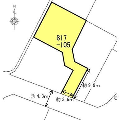 地積:177.37㎡(約53.65坪)、前面道路幅員は約4.8m、接道間口は約3.6mです。