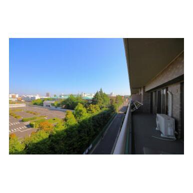 東向きバルコニーにつき陽当たり良好、そしてベランダ正面には高層建物がなく眺望良好です。