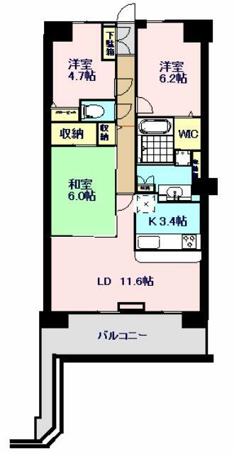71.82m2の3LDKマンション