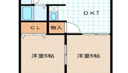 ノーブルカーサ堀内 2階 2DK