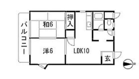 広島市安佐南区長束西の賃貸物件 「間取り2LDKの賃貸物件」
