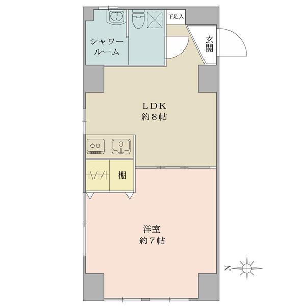 西向き・角住戸・1LDK!居室有効率の高い間取りです。