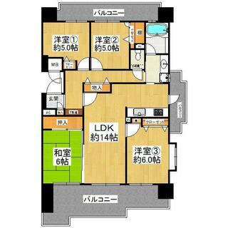 パロス・リバーコート博多壱番館 6階 4LDK