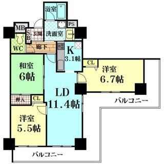 キングマンション堂島川 15階 3LDK