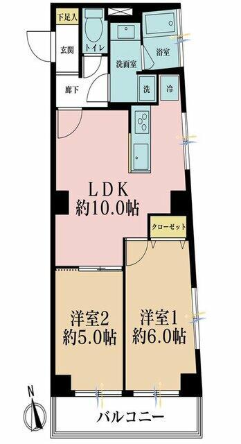 2LDK、価格2480万円、専有面積48.07m2、バルコニー面積5.4m2