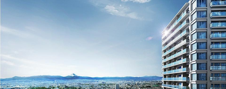 外観完成図【ウエスト】<br /> ※掲載の航空写真は現地付近上空(約111m)から西方向を撮影した写真(2015年3月)に建築確認取得時の図面(2015年3月31日付)を基に描き起こしたシティタワー国分寺 ザ・ツイン ウエスト外観完成イメージ図をCG合成・加工したもので、実際とは多少異なります。また形状の細部および設備機器等については省略しております。周辺環境・眺望は将来変わる場合があります。