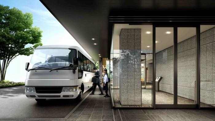 シャトルバス&エントランス完成図<br /> 『戸塚』駅前付近まで直通運行、居住者だけが利用できる専用シャトルバス付