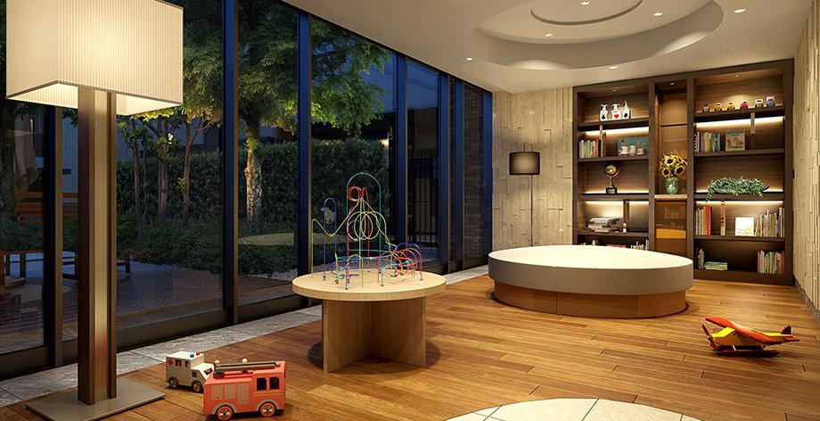キッズ&ママラウンジ完成予想図<br /> 親子で気兼ねなく寛げるラウンジを、共用棟1階に設置。