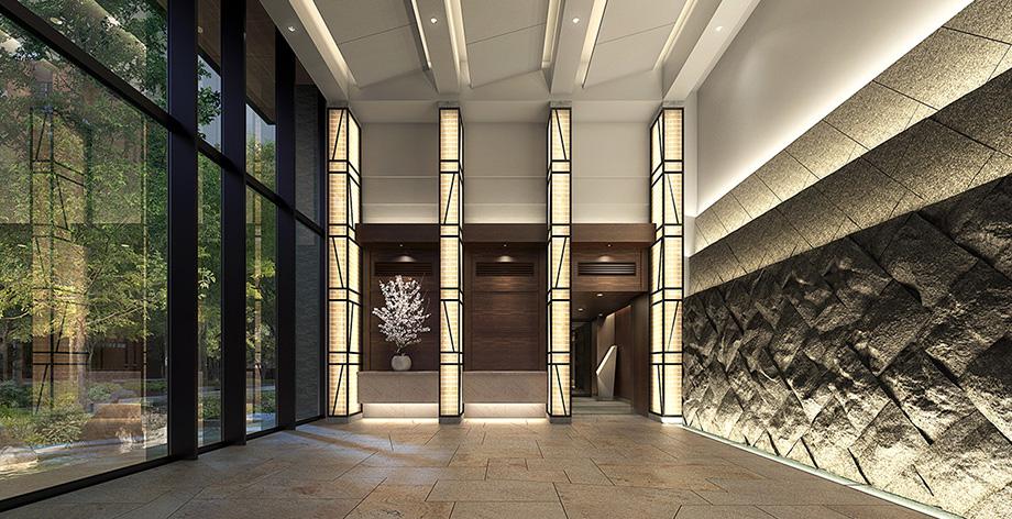 共用棟エントランスホール完成予想図<br /> ガラス越しの緑景と壁面の石張りなど、品格溢れるエントランスホール。