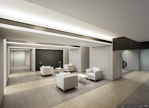 タワー棟エントランスホール完成予想図<br /> シティホテルを思わせる格別の空間。[タワー棟]<br /> ロビーからエレベーターで昇降する2階エントランスホール。「街」から「住まい」へと移行する空間をシティホテルを思わせる上質なスペースに設えました。