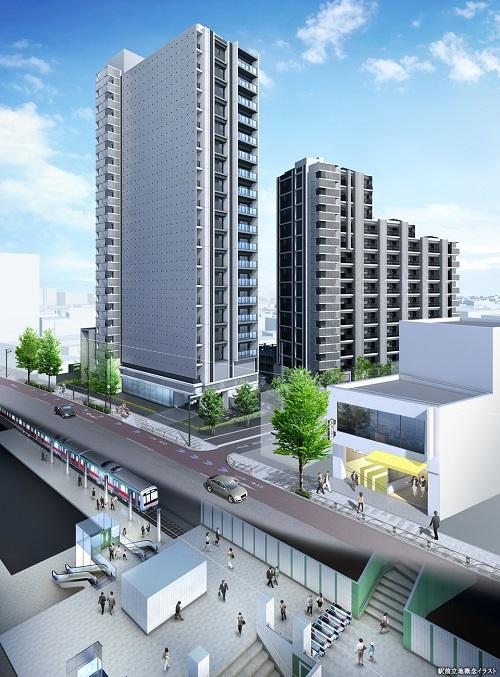 駅前立地概念イラスト<br /> 駅徒歩1分に誕生する地上20階建、全156邸。<br /> 「シティタワー駒沢大学ステーションコート」は、20階建タワー棟と15階建レジデンス棟の2棟構成、全156邸の大規模プロジェクト。<br /> 歩車分離設計、電動シャッター付き駐車場、歩道状空地などを採用し、敷地内の安全性やプライバシーにも配慮したランドプランとなっています。