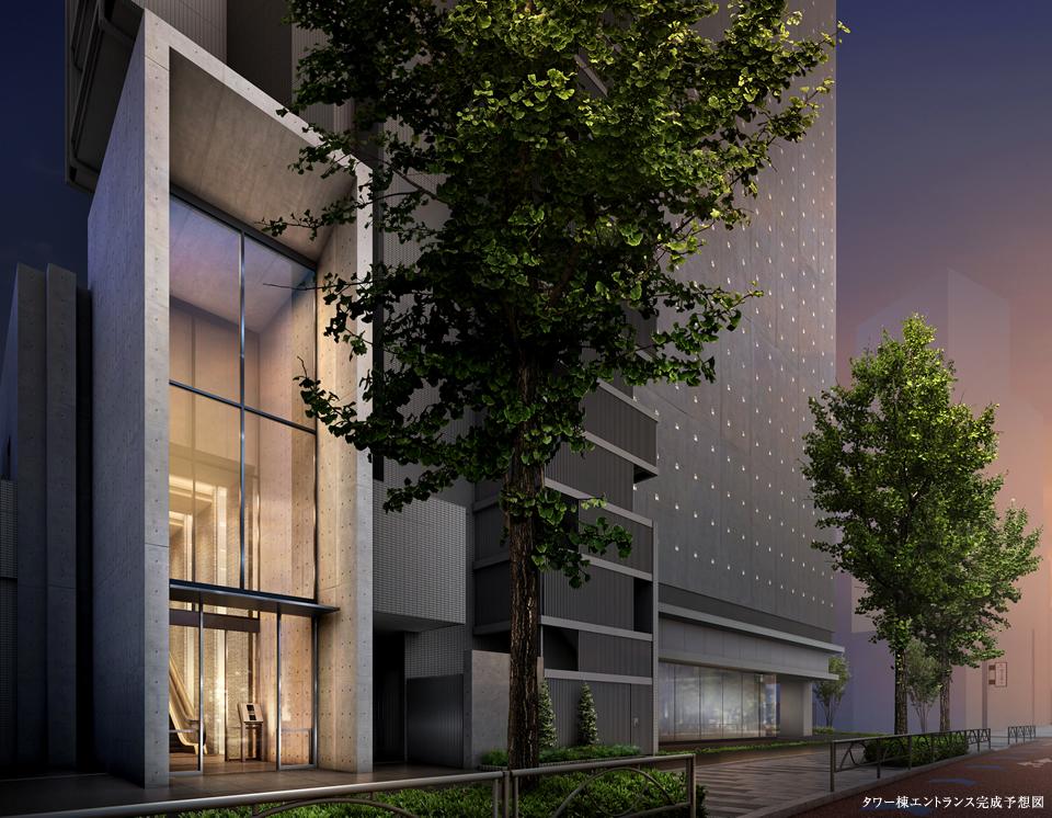 タワー棟エントランス完成予想図<br /> 街に際立つ景観[タワー棟] 玉川通りに面したタワー棟は、2層の吹き抜け空間をガラス越しに見せる印象的なエントランス。居住者やゲストはエスカレーターによって2階のエントランスホールへと導かれます。
