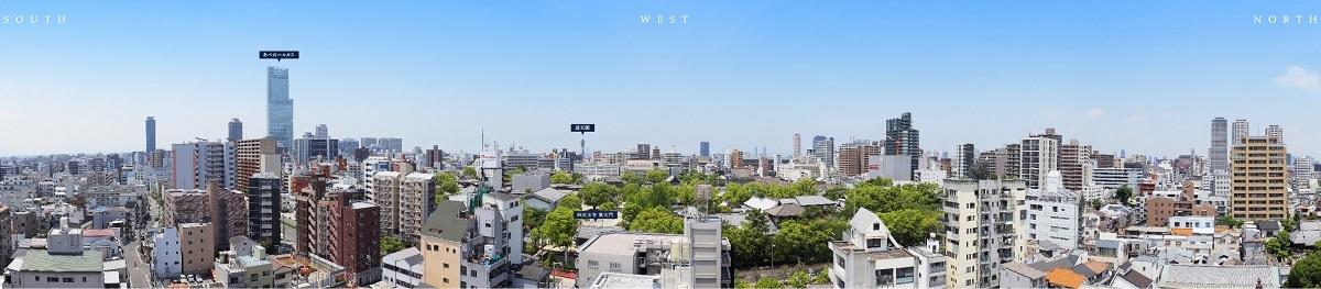 現地12階相当の高さからの眺望写真