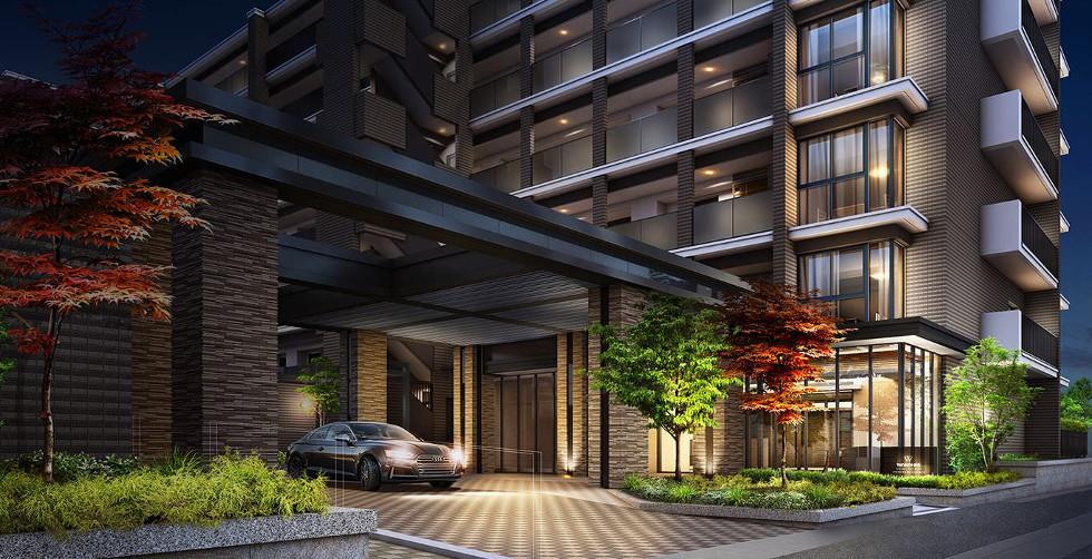 エントランスアプローチ・車寄せ完成予想図<br /> ホテルを想わせる車寄せスペースが迎えるエントランスアプローチ。