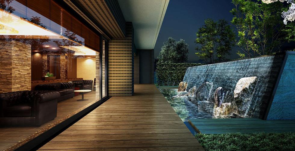 エントランスホール・オーナーズテラス完成予想図<br /> 水の揺らめきが美しい世界を創り出す、水盤を眺めるホール。
