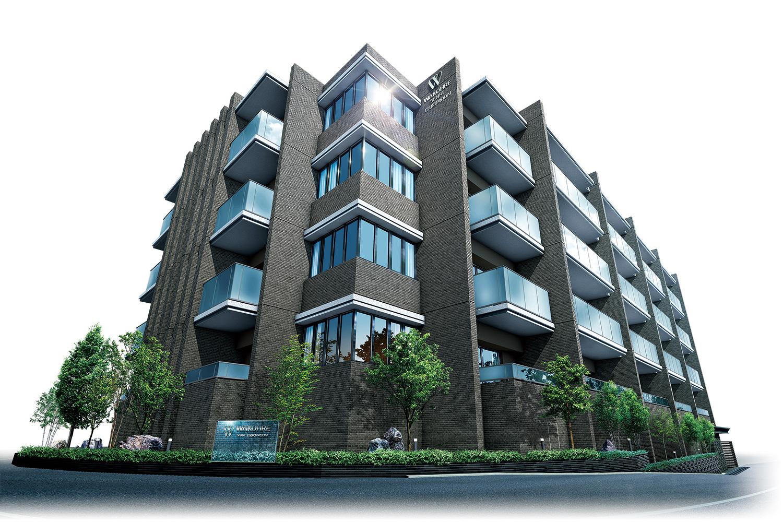 外観完成予想図<br /> 周辺の自然環境をモチーフに、上質感・邸宅感をデザイン。<br /> 周辺環境との調和をはかりながらも存在感のあるレジデンスを目指しました。マリオン・バルコニー面には凹凸をつけ陰影のある重厚感を醸しだしています。住戸と住戸のバルコニー間には、周辺の並木道のようにマリオンをリズミカルに設け、住戸の独立感を高めるとともに邸宅感を演出。また、自然な風合いのせっき質タイルを用い、全体的にまとまりのある色合いとし、落ち着きある上質感をデザインしています。