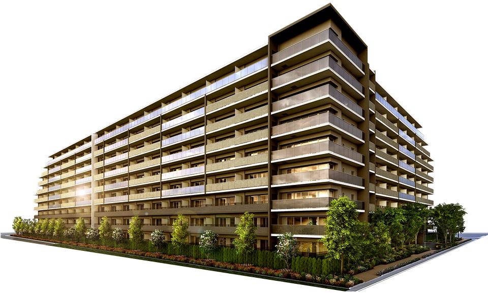 メイツ三郷中央サラテラス(外観完成予想図<br /> 空に映え、緑と調和するパークサイドの私邸<br /> 雄大な姿を見せる外観ファサード。<br /> バルコニーのガラス手摺は空に溶け込み、心地よく光を取り込みます。<br /> 縦に通したマリオンが建物を分節して変化をつけた、シャープなデザインが施されています。<br /> 足元の緑の潤いと調和し、美しく優雅に佇みます。)