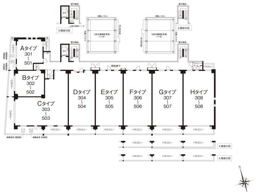 3〜5階平面図