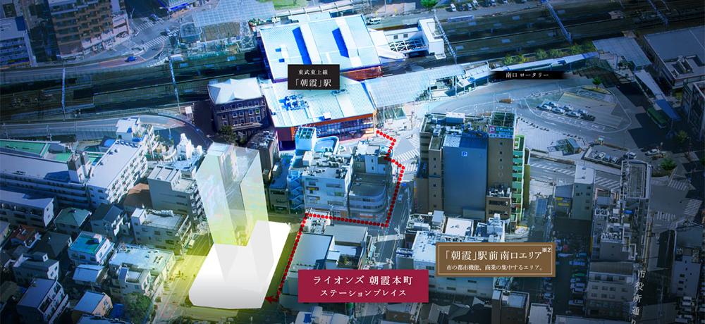 航空写真<br /> (2018年2月撮影)<br /> ※2.「朝霞」駅南口エリアについては、地域特性の概略を広告的に表現したものです。