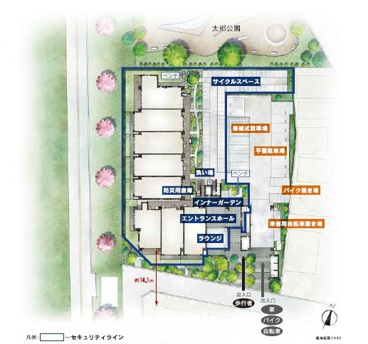 敷地配置イラスト<br /> ※掲載の敷地配置イラストは計画段階の図面を基に描き起こしたもので、実際とは多少異なります。植栽につきましては特定の季節・ご入居時の状態を想定して描かれたものではありません。また、敷地周辺は説明のためのもので、形状・スケール・位置などは実際とは異なります。