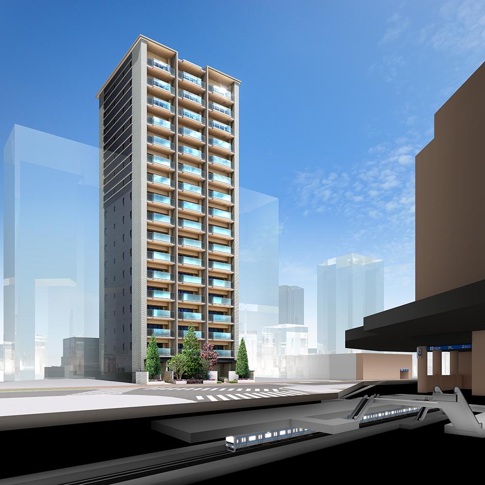 外観完成予想図<br /> 再開発により変貌を遂げる名古屋都心へ、駅1分から直結。