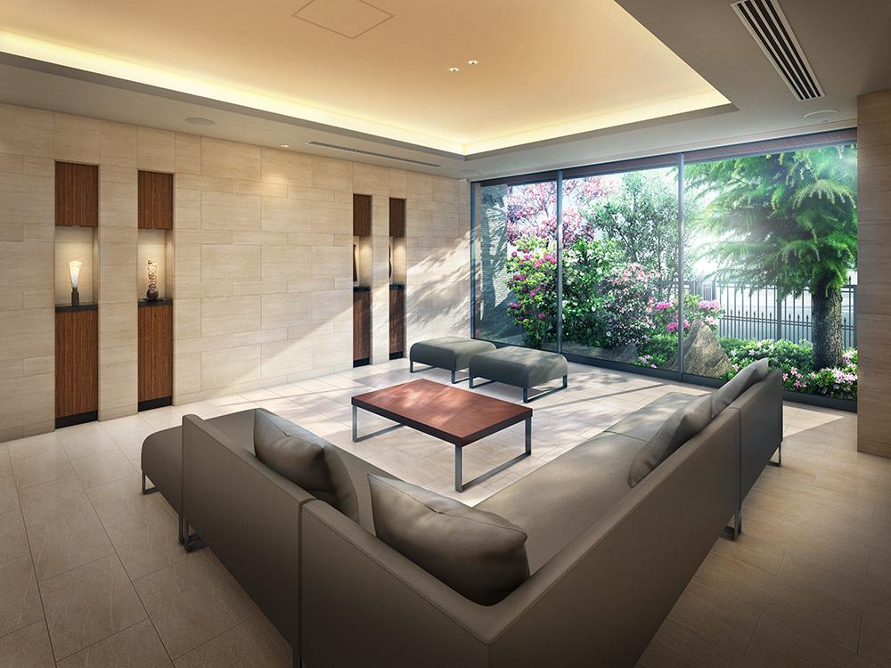 エントランスホール完成予想図<br /> 美しい迎賓の空間に寛ぐ、ラウンジ。