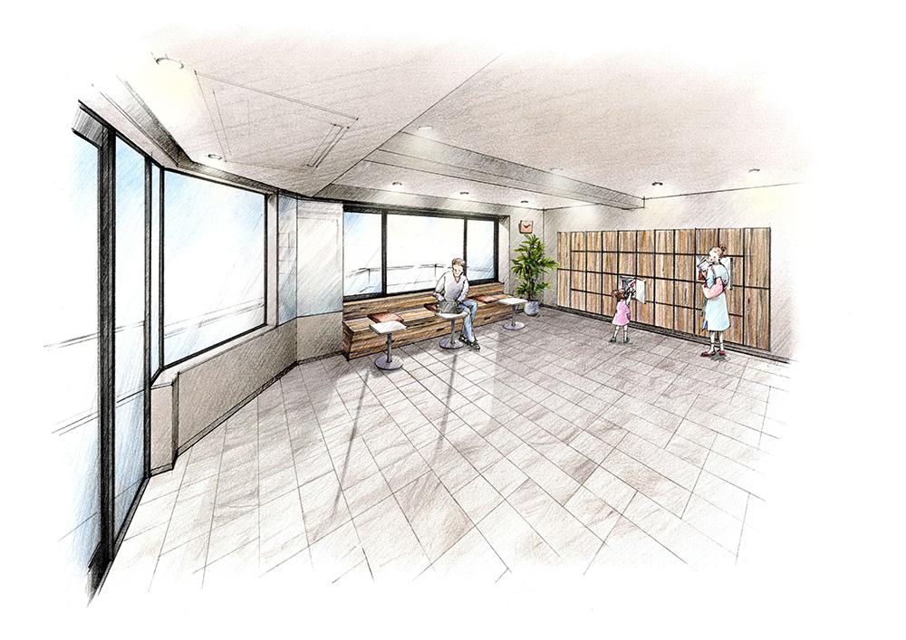 イニシア青砥(居室+α感覚で使える「青砥スタンド」。<br /> 2階にご用意したのは居住者専用スペース「青砥スタンド」。 カフェのような空間は、もうひとつの居室のような空間。 1住戸につきひとつずつロッカーもご用意しています。 ゆっくりと寛ぐ場所として、仕事に集中するセカンドオフィスとして、 DIYなど趣味を深める空間として、 自分らしい過ごし方を充実させる場所です。<br /> <「青砥スタンド」完成予想イラスト><br /> <br /> ※「青砥スタンド」及びロッカーの利用にあたっては管理規約、使用細)