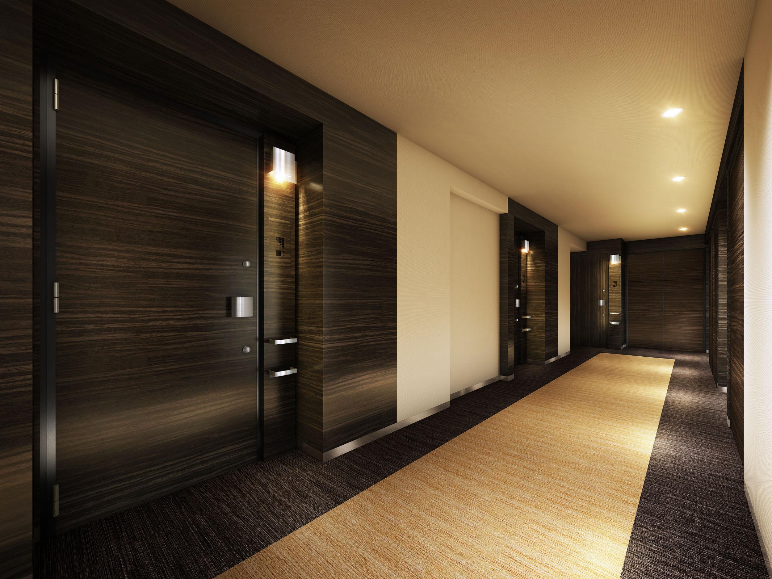 内廊下の参考イメージ(他物件の完成予想図)<br /> 高級感漂うホテルライクな「内廊下」設計。プライバシーを守れます。