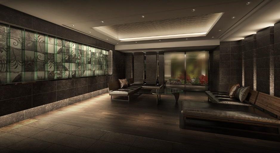 ◆ENTRANCE LOBBY 精緻なディテールが空間に響き合い、流れる時は気品を纏う。<br /> 息をのむ。そして心がほどけていく。<br /> <br /> 摺りガラスの向こうに見える植栽の淡い色合い。<br /> 壁一面に描かれた独創的なアート。<br /> 優美な折上天井と向かい合う広々とした床面では、趣のことなる表情豊かなタイルが絶妙なハーモニーを醸し出します。<br /> 調度の一つひとつに贅を尽くし、高揚感とやすらぎをともに与えてくれる格別な迎賓の空間です。