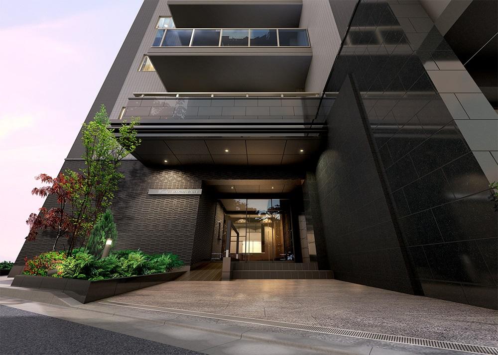 エントランス完成予想CG<br /> 洗練された印象につつまれた都会的なセンスが薫るモダンな建築美。
