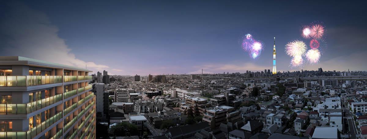 外観完成予想CG<br /> ※現地14階相当からの眺望写真に外観完成予想CGを合成したもので、実際とは多少異なります。