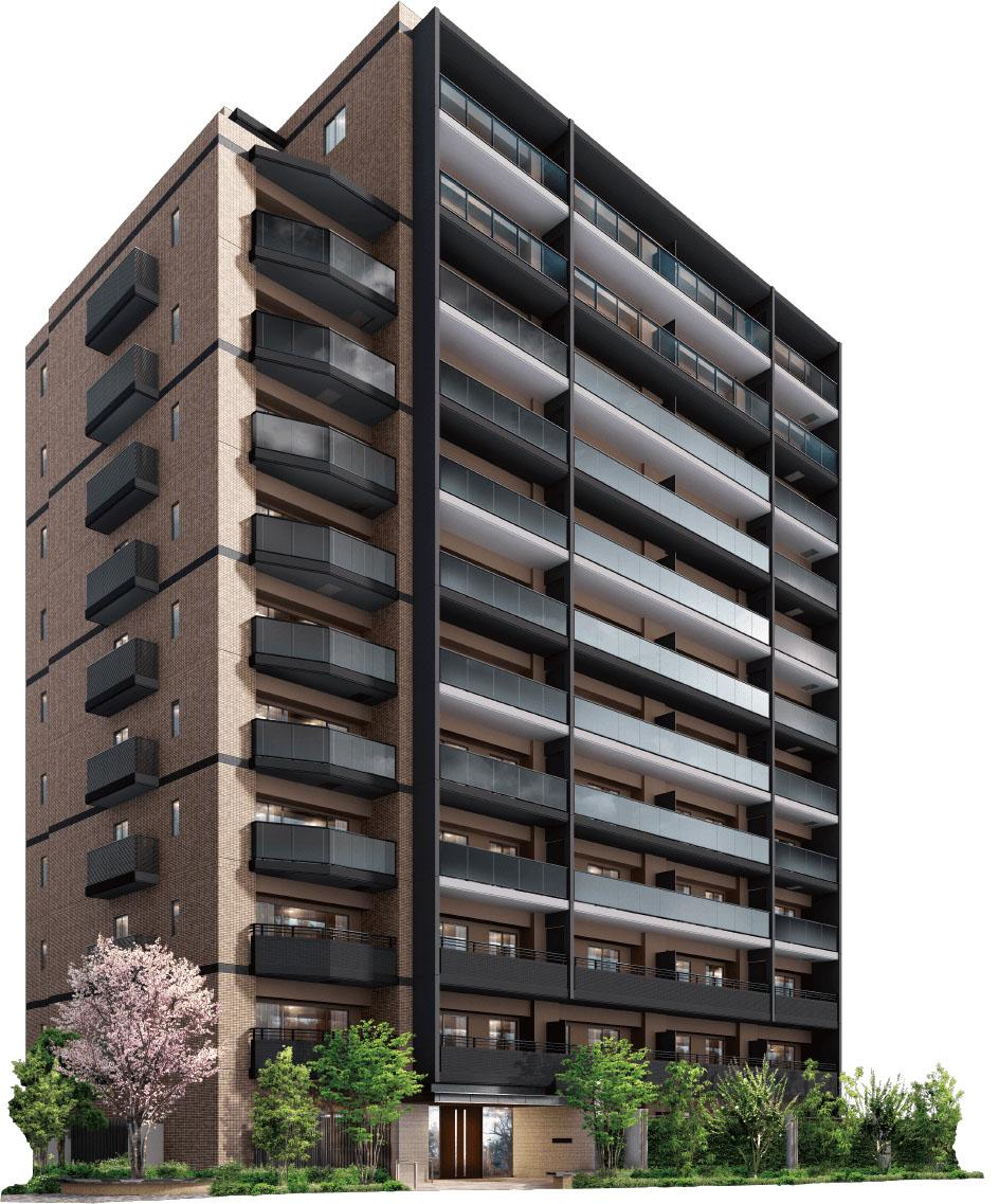 街並みに美しく映える、ナチュラルモダンな佇まいをデザイン。<br /> 12階建て・全79邸の堂々とした存在感。<br /> そのファサードは、木々の緑や空の青と相性の良いアースカラーを基調としてデザインしました。<br /> 垂直に延びるマリオンのラインと、水平のスラブライン、バルコニーのガラス手すりにはモノトーンカラーを採用し、<br /> ナチュラルな佇まいにモダンな個性を添えています。