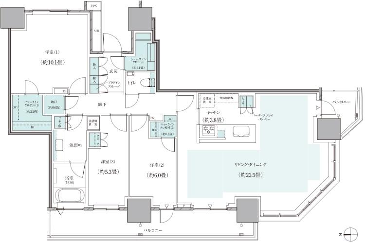 トランクルーム面積:0.82㎡ ※トランクルームはEVホール前に設置しております。