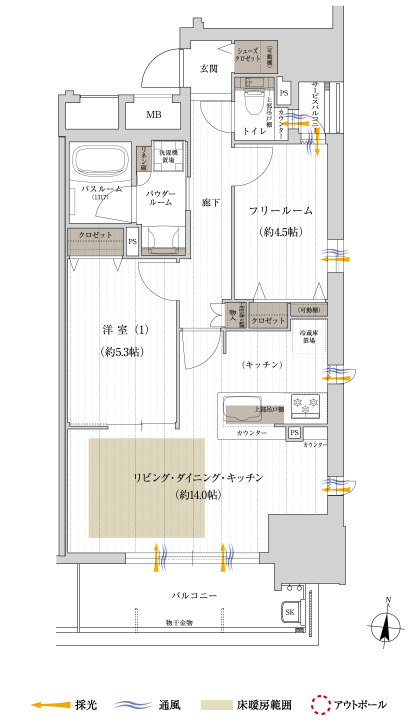 サービスバルコニー面積:1.12㎡  ※住居専有面積にはメーターボックス面積0.91㎡含む